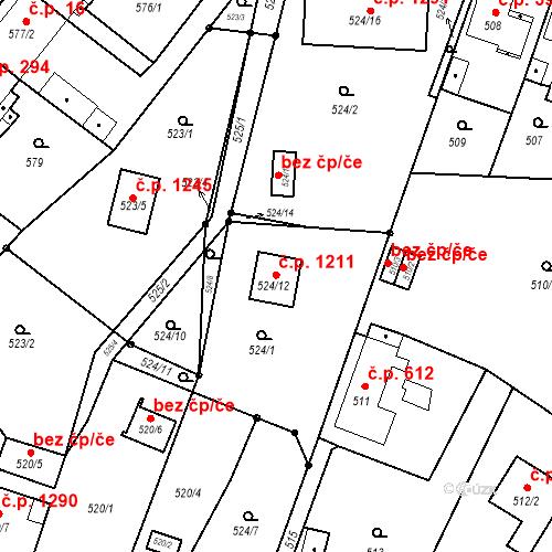 Katastrální mapa Stavební objekt Svinov 1211, Ostrava