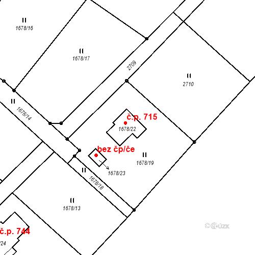 Katastrální mapa Stavební objekt Stará Ves 715, Stará Ves nad Ondřejnicí