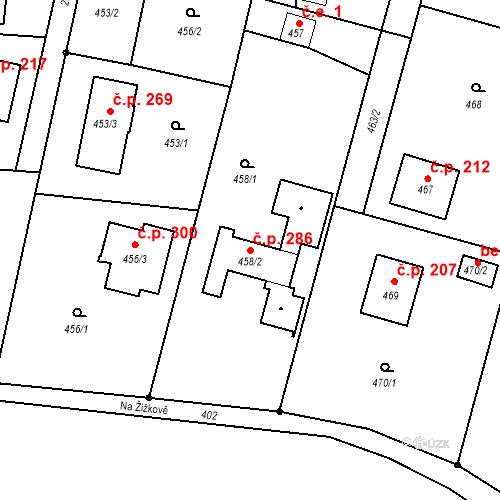 Katastrální mapa Stavební objekt Plesná 286, Ostrava
