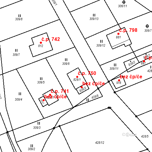Katastrální mapa Stavební objekt Hutisko 750, Hutisko-Solanec