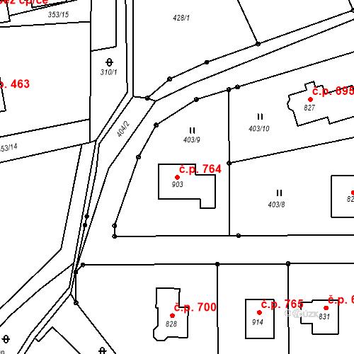Katastrální mapa Stavební objekt Solanec pod Soláněm 764, Hutisko-Solanec