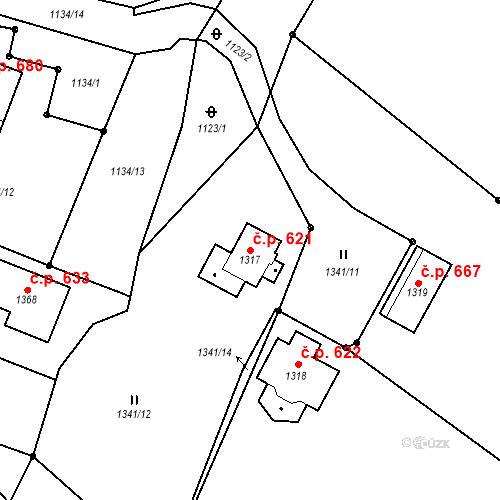 Katastrální mapa Stavební objekt Dolní Bečva 621, Dolní Bečva