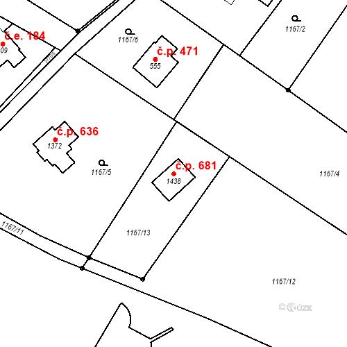 Katastrální mapa Stavební objekt Dolní Bečva 681, Dolní Bečva