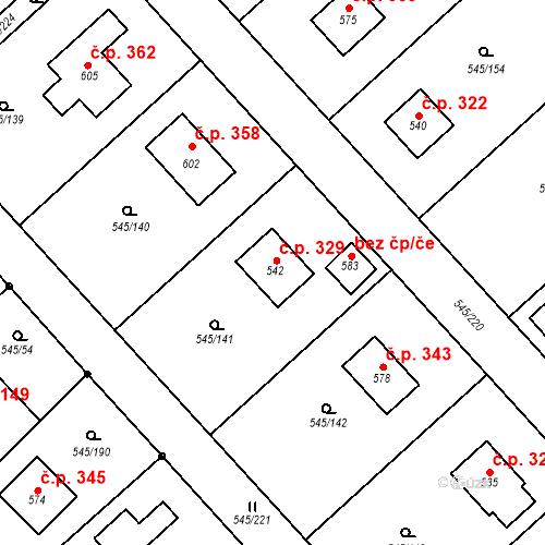 Katastrální mapa Stavební objekt Vigantice 329, Vigantice