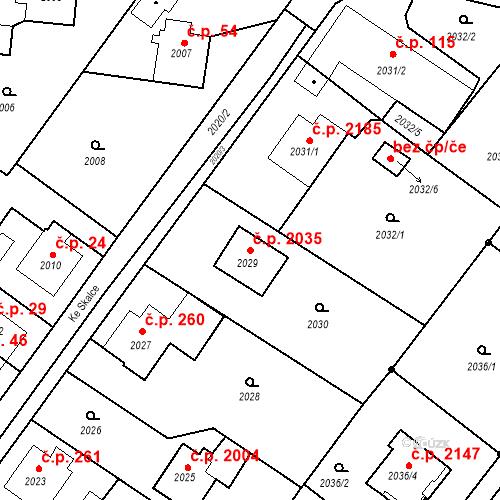Katastrální mapa Stavební objekt Poruba 2035, Ostrava