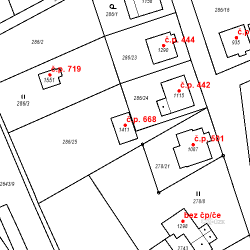 Katastrální mapa Stavební objekt Dolní Bečva 668, Dolní Bečva
