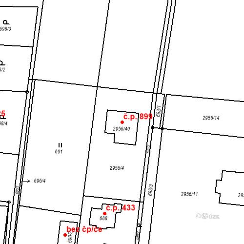 Katastrální mapa Stavební objekt Klimkovice 899, Klimkovice