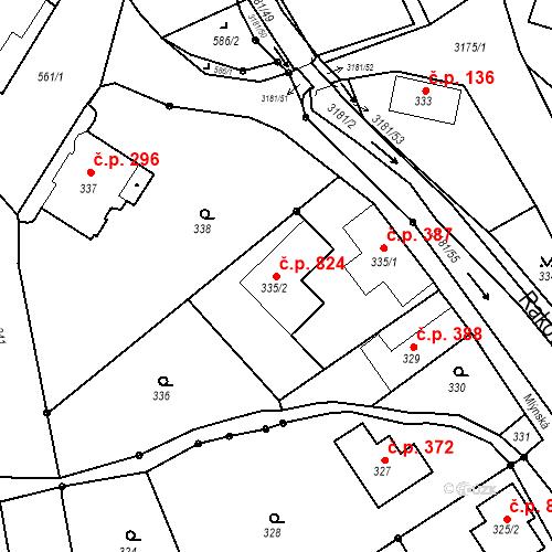 Katastrální mapa Stavební objekt Klimkovice 824, Klimkovice