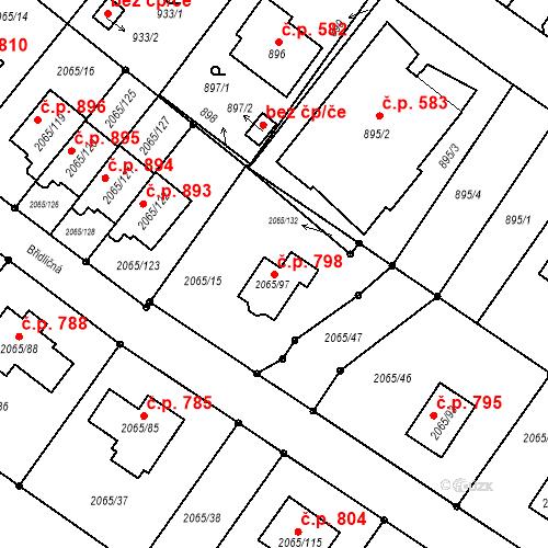 Katastrální mapa Stavební objekt Vřesina 798, Vřesina