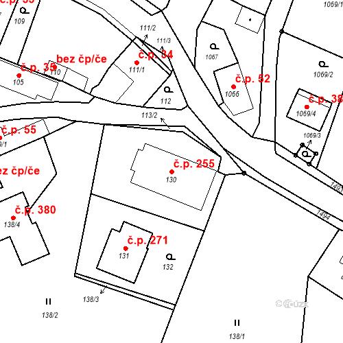Katastrální mapa Stavební objekt Chabičov 255, Háj ve Slezsku