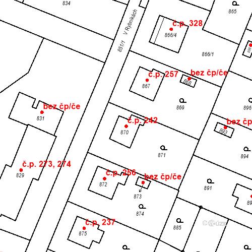 Katastrální mapa Stavební objekt Chabičov 242, Háj ve Slezsku