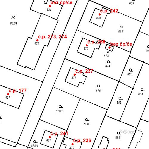 Katastrální mapa Stavební objekt Chabičov 237, Háj ve Slezsku