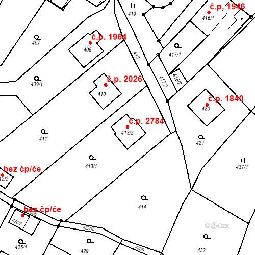 Katastrální mapa Stavební objekt Rožnov pod Radhoštěm 2784, Rožnov pod Radhoštěm