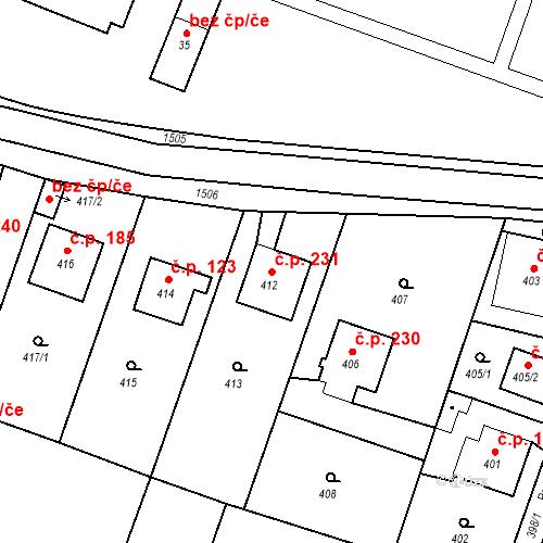 Katastrální mapa Stavební objekt Chabičov 231, Háj ve Slezsku