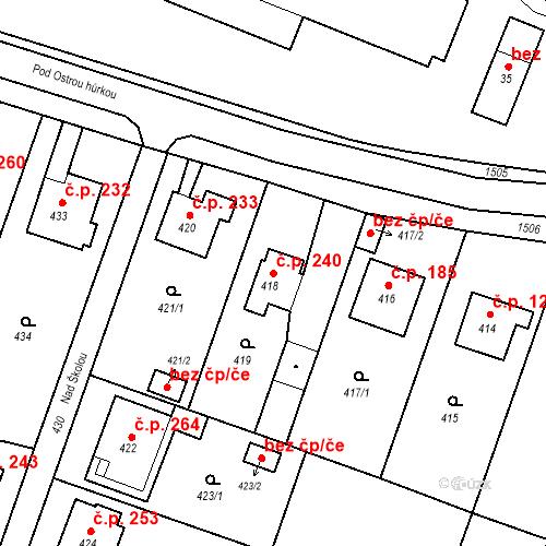 Katastrální mapa Stavební objekt Chabičov 240, Háj ve Slezsku