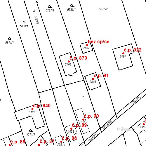 Katastrální mapa Stavební objekt Nový Hrozenkov 870, Nový Hrozenkov