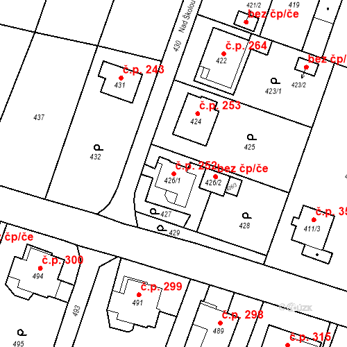 Katastrální mapa Stavební objekt Chabičov 252, Háj ve Slezsku