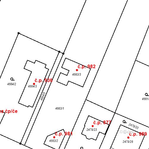 Katastrální mapa Stavební objekt Klimkovice 982, Klimkovice