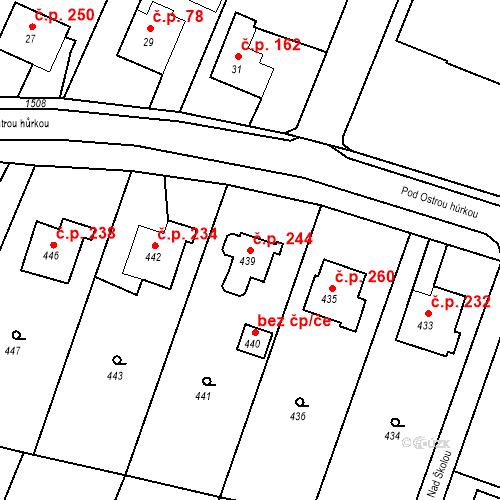 Katastrální mapa Stavební objekt Chabičov 244, Háj ve Slezsku