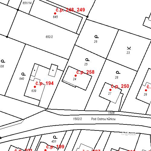 Katastrální mapa Stavební objekt Chabičov 258, Háj ve Slezsku
