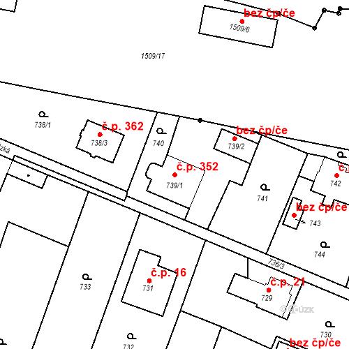 Katastrální mapa Stavební objekt Chabičov 352, Háj ve Slezsku