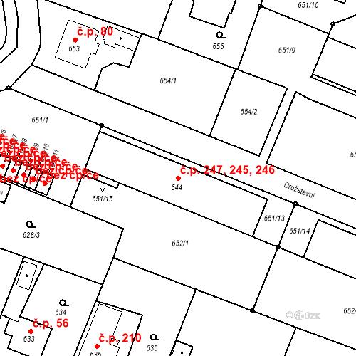 Katastrální mapa Stavební objekt Chabičov 245, 246, 247, Háj ve Slezsku