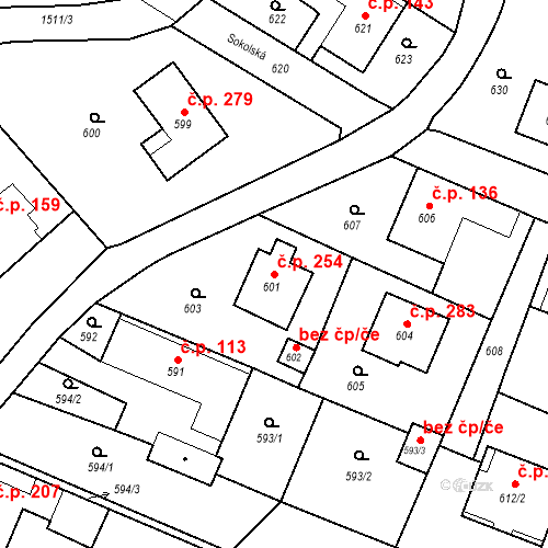 Katastrální mapa Stavební objekt Chabičov 254, Háj ve Slezsku