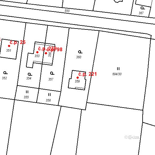 Katastrální mapa Stavební objekt Smolkov 221, Háj ve Slezsku