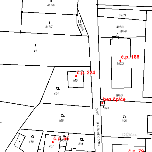 Katastrální mapa Stavební objekt Smolkov 224, Háj ve Slezsku