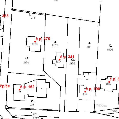 Katastrální mapa Stavební objekt Závišice 341, Závišice