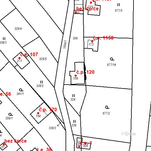 Katastrální mapa Stavební objekt Budišovice 120, Budišovice