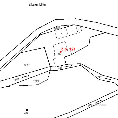 Katastrální mapa Stavební objekt Hněvošice 121, Hněvošice