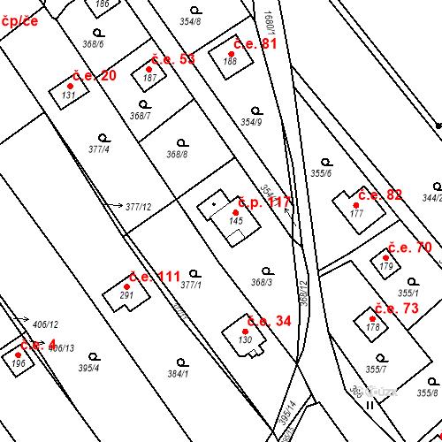 Katastrální mapa Stavební objekt Budišovice 117, Budišovice
