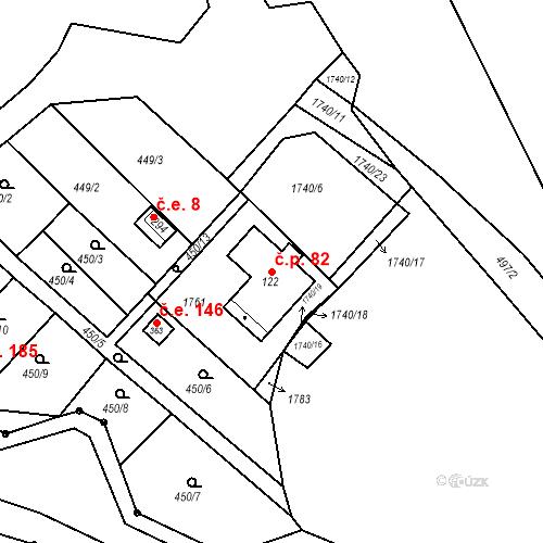 Katastrální mapa Stavební objekt Budišovice 82, Budišovice