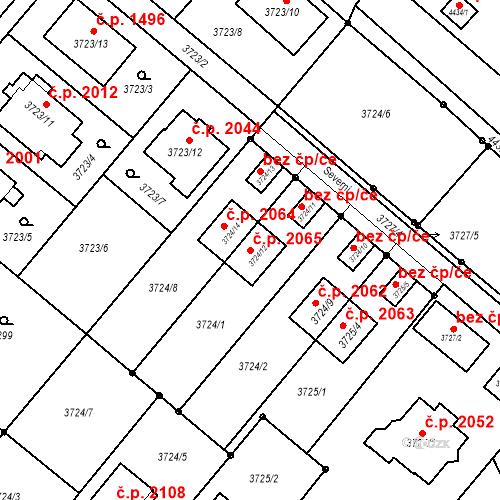 Katastrální mapa Stavební objekt Kouty 2065, Kravaře