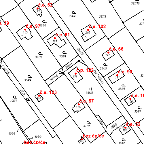 Katastrální mapa Stavební objekt Budišovice 122, Budišovice