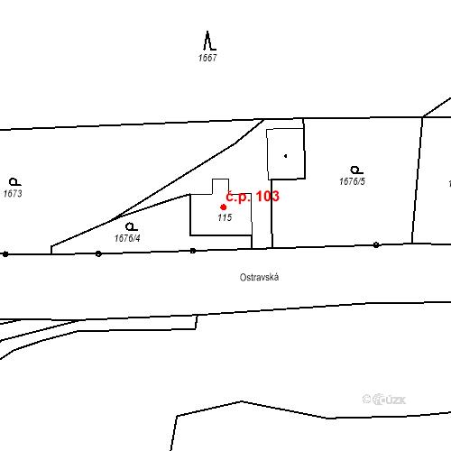 Katastrální mapa Stavební objekt Budišovice 103, Budišovice