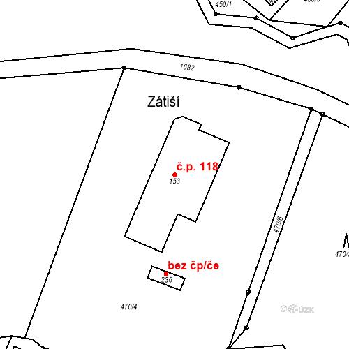 Katastrální mapa Stavební objekt Budišovice 118, Budišovice