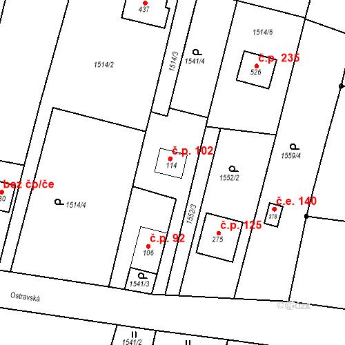 Katastrální mapa Stavební objekt Budišovice 102, Budišovice