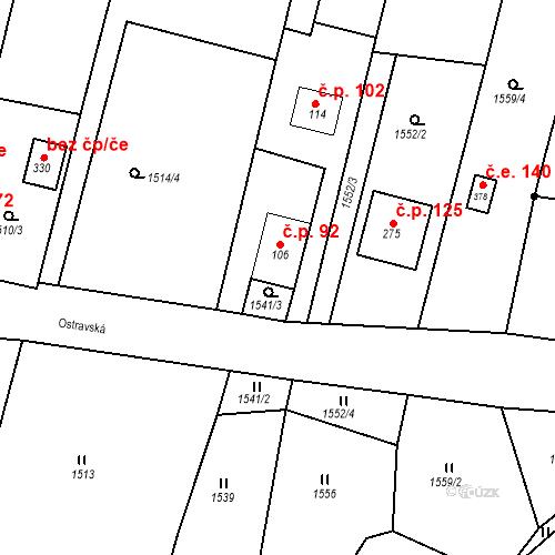 Katastrální mapa Stavební objekt Budišovice 92, Budišovice
