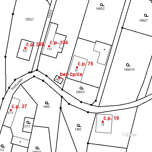Katastrální mapa Stavební objekt Budišovice 75, Budišovice
