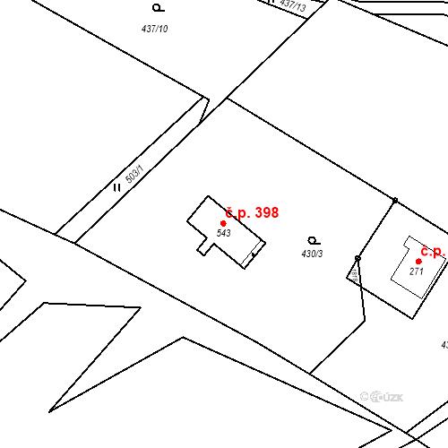 Katastrální mapa Stavební objekt Rybí 398, Rybí