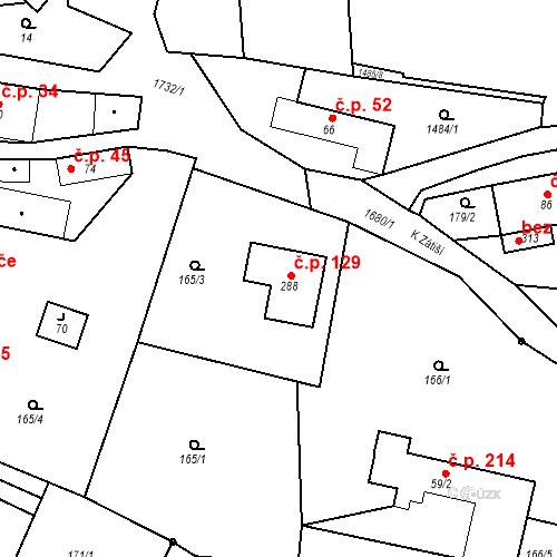 Katastrální mapa Stavební objekt Budišovice 129, Budišovice