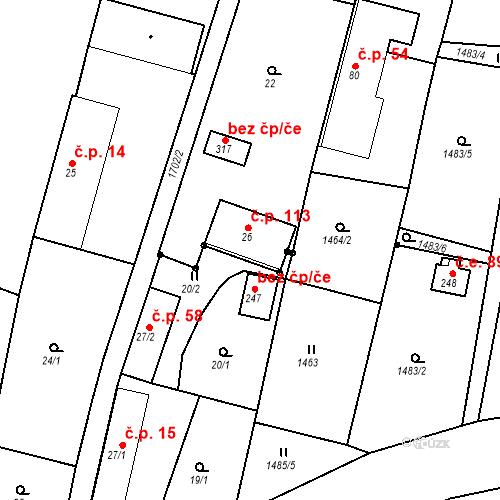 Katastrální mapa Stavební objekt Budišovice 113, Budišovice