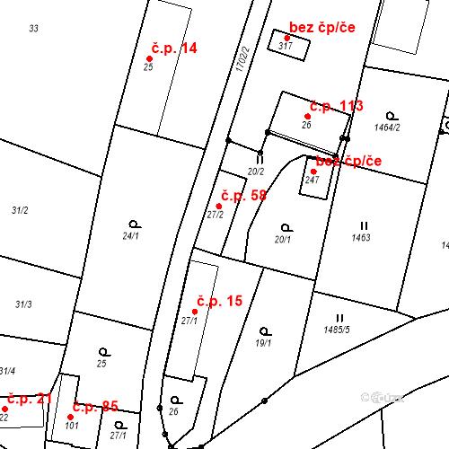 Katastrální mapa Stavební objekt Budišovice 58, Budišovice