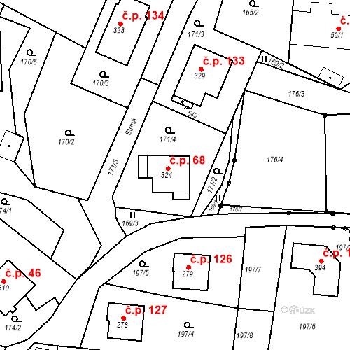 Katastrální mapa Stavební objekt Budišovice 68, Budišovice