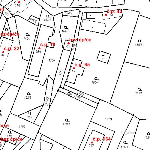 Katastrální mapa Stavební objekt Budišovice 65, Budišovice