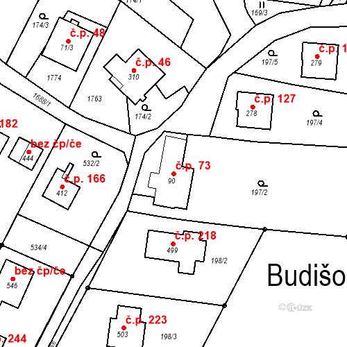 Katastrální mapa Stavební objekt Budišovice 73, Budišovice