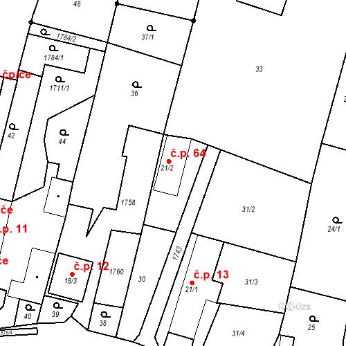 Katastrální mapa Stavební objekt Budišovice 64, Budišovice