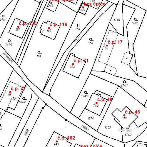 Katastrální mapa Stavební objekt Budišovice 71, Budišovice